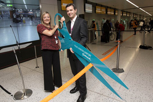 Opening of world's largest easyJet self-service bag drop area at Gatwick.